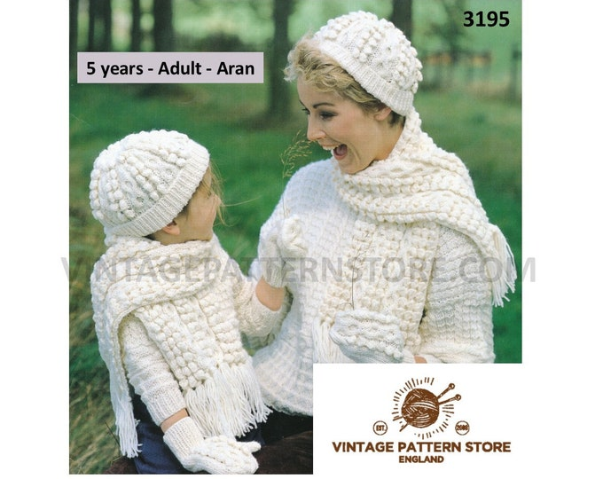 Ladies Womens Girls 90s cable cabled aran toque hat cap fringed scarf & mittens pdf knitting pattern 5 years to Adult Instant Download 3195