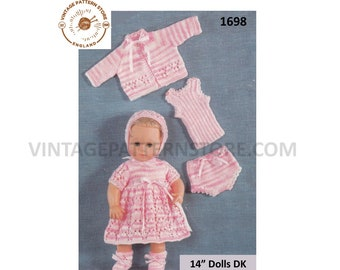 "80s vintage 14"" DK baby doll clothes dress cardigan vest knickers and booties bootees pdf knitting pattern Instant PDF download 1698"
