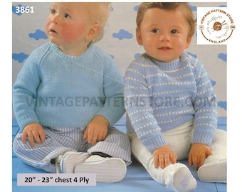 "Baby Babies Toddlers 80s 4 ply easy to knit round neck plain & striped raglan sweater jumper pdf knitting pattern 20"" to 23"" Download 3861"