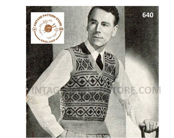 """Mens Mans 30s vintage 3 ply V neck fair isle banded sleeveless sweater vest tank top pdf knitting pattern 38"""" chest Instant PDF download 640"""
