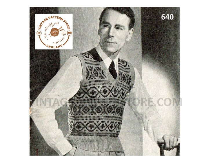 "Mens Mans 30s vintage 3 ply V neck fair isle banded sleeveless sweater vest tank top pdf knitting pattern 38"" chest Instant PDF download 640"