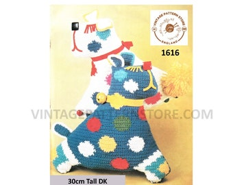"""70s Vintage spotty toy dog and weighted door stop pdf crochet pattern 12"""" Tall Instant PDF Download 1616"""