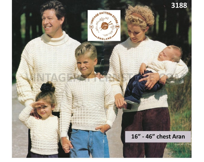 """Womens Mens Boys Girls 90s polo or crew neck cabled drop shoulder dolman Guernesy aran sweater pdf knitting pattern 16"""" to 46"""" Download 3188"""