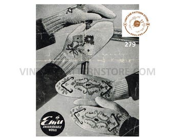 "Ladies 1940s, floral and fair isle mittens - 7.5"" palm size - Vintage PDF Knitting Pattern 279"