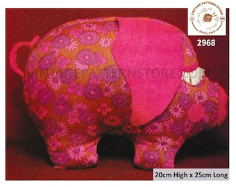 80s vintage fabric toy pig and pig doorstop when weighted pdf sewing pattern Instant PDF download 2968
