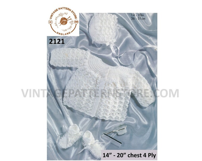 """Premature Preemie Baby Babies 4 ply lacy matinee coat jacket bonnet & booties pdf knitting pattern 14"""" to 20"""" Instant PDF Download 2121"""