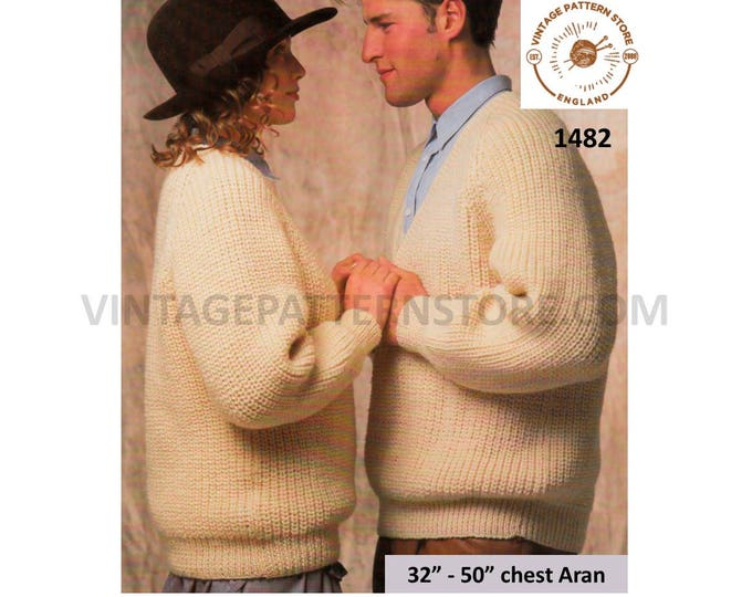 "Ladies Womens Mens easy to knit V or crew neck oversized plus size extra large aran sweater pdf knitting pattern 32"" to 50"" Download 1482"