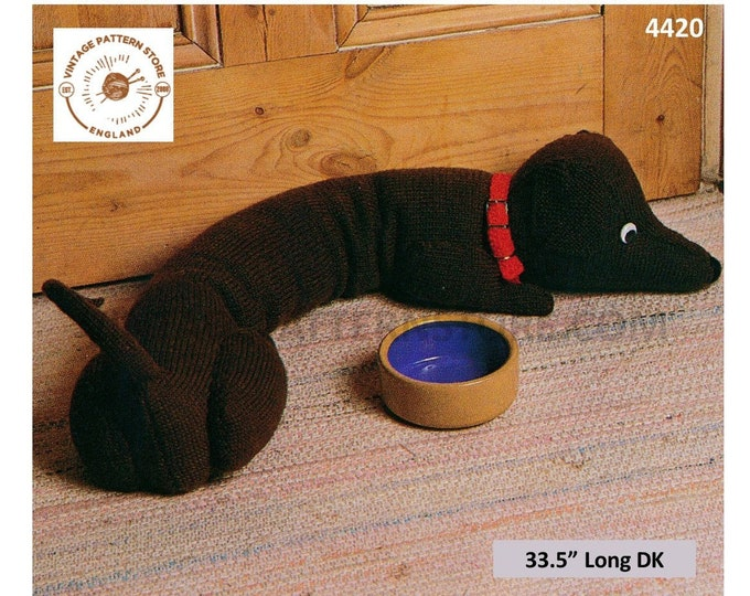 "80s vintage DK easy to knit toy dachshund sausage dog draught excluder stopper pdf knitting pattern 33.5"" Long Instant PDF Download 4420"