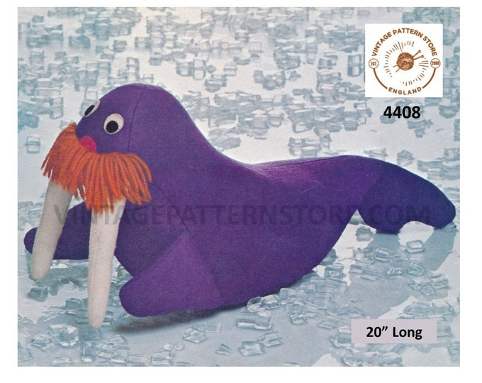 """70s vintage cuddly toy animal walrus pdf sewing pattern 20"""" Long or Makes to desired size Instant PDF Download 4408"""