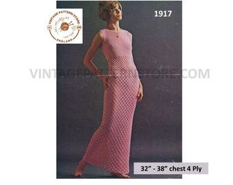 "Ladies 1970s, Long line, round neck, sleevreless, summer evening dress in 4 ply 32"" - 38"" chest - Vintage PDF Crochet Pattern 1917"
