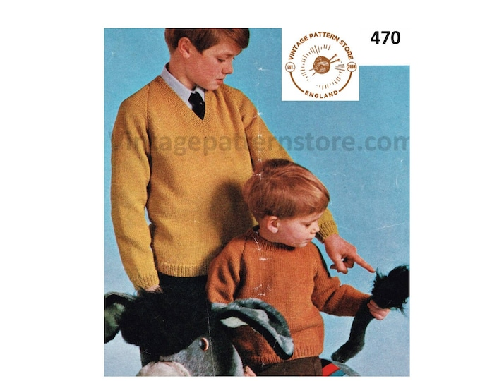 """Toddlers Boys 80s vintage easy to knit plain and simple V or crew neck DK raglan sweater jumper pdf knitting pattern 22"""" to 32"""" Download 470"""