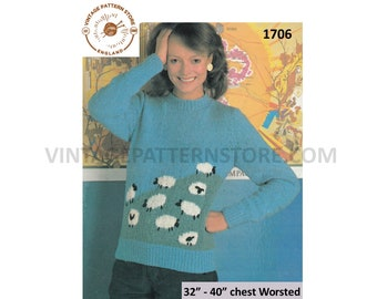 "Ladies polo or round neck, sheep in field pictorial sweater jumper in worsted - 32"" x 40"" Chest - Vintage PDF Knitting Pattern 1706"