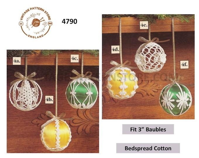 "90s vintage crochet Christmas baubles & covers tree decoration ornament pdf crochet pattern 6 designs 3"" diameter Instant PDF Download 4790"