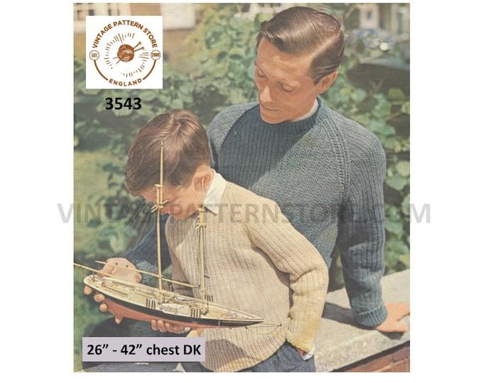 "Mans Mens Boys 50s vintage round neck easy to knit DK raglan rib ribbed sweater jumnper pdf knitting pattern 26"" to 42"" chest Download 3543"