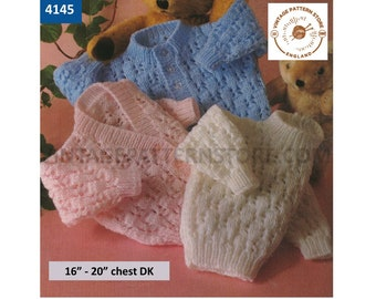 """Baby Babies 90s round or V neck lacy raglan DK cardigan & round neck sweater jumper pdf knitting pattern 16"""" to 22"""" chest PDF Download 4145"""
