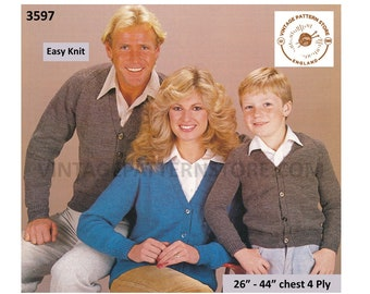 """Ladies Mens Boys Girls 80s Family plain and simple easy to knit 4 ply V neck raglan cardigan pdf knitting pattern 26"""" to 44"""" Download 3597"""