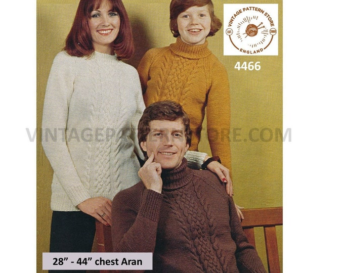 """Womens Mens Boys Girls Family polo or round neck cable panel raglan aran sweater jumper pdf knitting pattern 28"""" to 44"""" PDF Download 4466"""