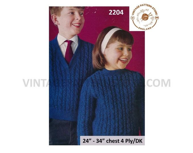 """Boys Girls 80s vintage V or round neck cable cabled DK 4 ply raglan sweater jumper pdf knitting pattern 24"""" to 34"""" chest PDF download 2204"""