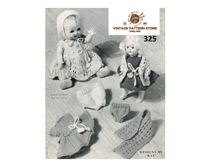 "50s vintage 6"" 8"" 10"" 12"" 14"" 16"" 3 ply and 4 ply baby dolls clothes layette dress and stole pdf knitting pattern Instant PDF download 325"