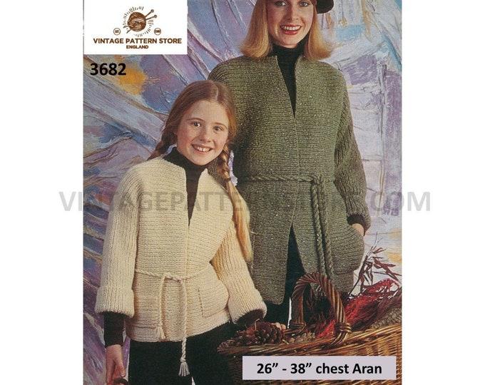 """Ladies Womens Girls 80s vintage round neck sideways knitted belted raglan aran jacket coat pdf knitting pattern 26"""" to 38"""" PDF download 3682"""