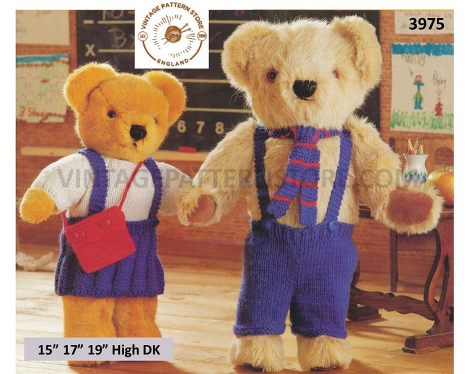 "90s DK 15"" 17"" 19"" high DK cuddly teddy bear clothes school uniform trousers skirt sweater satchel & tie pdf knitting pattern Download 3975"