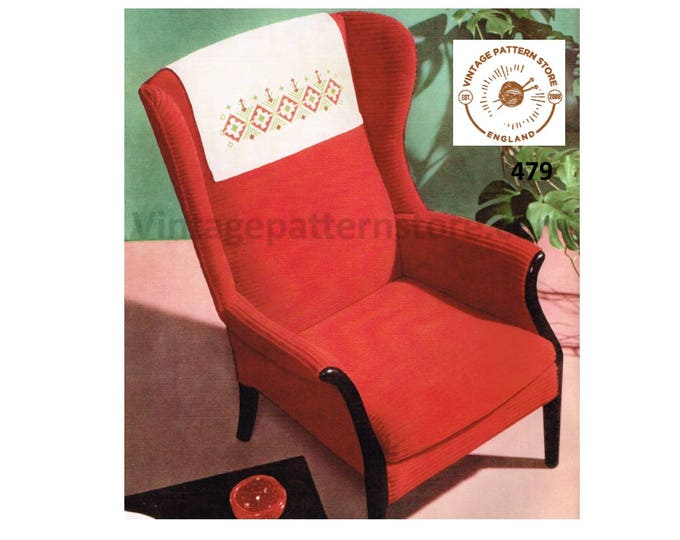 "70s vintage diamond embroidered chair back cover protector pdf embroidery pattern 23"" by 17.5"" Instant PDF Download 479"
