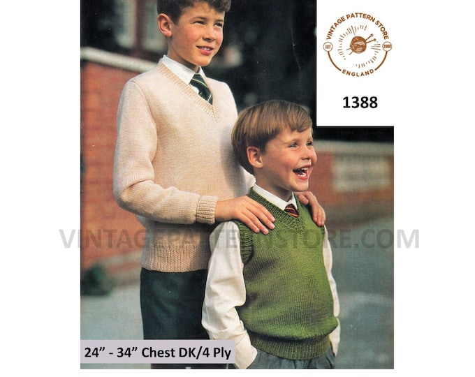 """Boys 60s quick simple & easy to knit 4 ply or DK V neck slipover sweater vest tank top pdf knitting pattern 24"""" to 34"""" chest Download 1388"""
