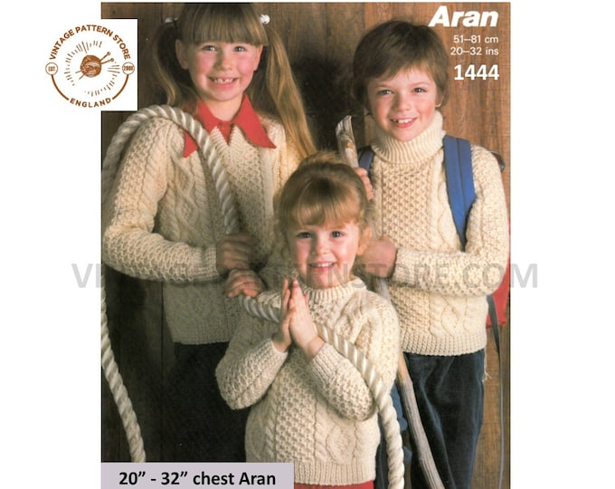 """Boys Girls 80s vintage V crew or polo neck cable cabled raglan aran sweater jumper pullover pdf knitting pattern 20"""" to 32"""" Download 1444"""