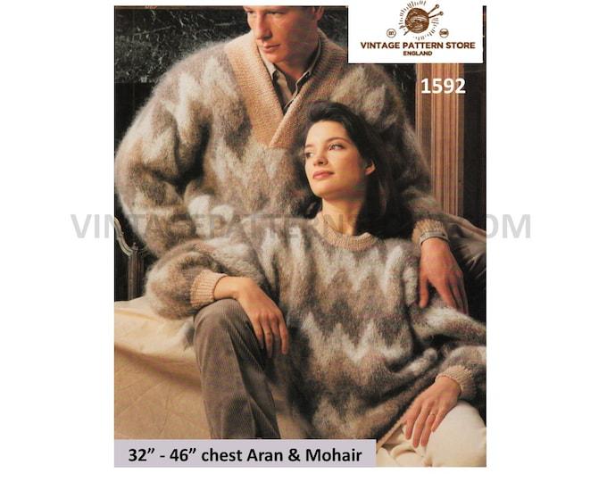 "Ladies Womens Mens 80s vintage crew or V neck drop shoulder dolman mohair sweater jumper pdf knitting pattern 32"" to 46"" PDF Download 1592"