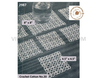 30s vintage square tatted lace doily doilies place mats and coasters pdf tatting pattern Instant PDF Download 2987