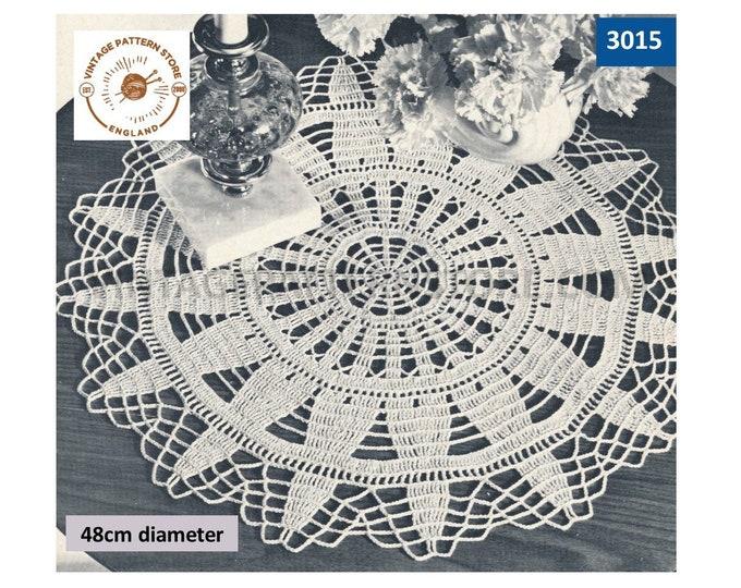 60s vintage circular round lacy lace starburst sunburst doily doilies table mat pdf crochet pattern 48cm diameter Instant PDF Download 3015