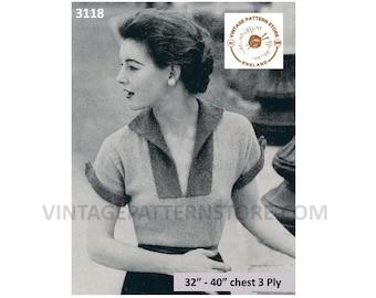"Ladies Womens 50s vintage 3 ply split neck short sleeve sweater jumper blouse PDF knitting pattern 32"" to 38"" bust PDF Download 3118"