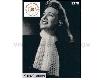 """Ladies Womens 40s vintage eyelet lace lacy angora scarf pdf knitting pattern 7"""" by 42"""" Instant PDF Download 3378"""
