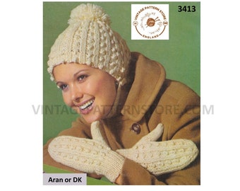 Ladies Womens 60s vintage retro aran or DK cable cabled toque hat and mittens pdf knitting pattern Adult size Instant PDF Download 3413