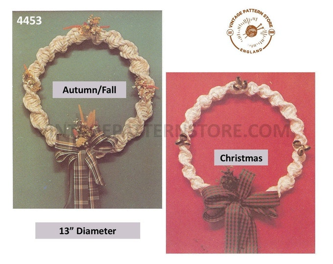 "70s vintage macrame Christmas half knot spiral twist door wreath decoration ornament pdf macrame pattern 13"" diameter PDF download 4453"