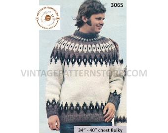 "Mens Mans 80s vintage crew neck bulky knit fair isle yoke yoked raglan sweater jumper pdf knitting pattern 34"" to 40"" chest Download 3065"