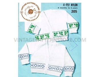Babies V neck raglan sleeve, fair isle banded cardigan - clover or noughts and crosses 6 months - 3 years - Vintage PDF Knitting Pattern 205