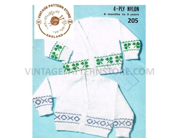 Baby Babies Toddlers 80 vintage clover leaf fair isle banded 4 ply raglan cardigan pdf knitting pattern 6 mths to 3 years PDF download 205
