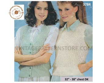 """Ladies Womens 80s vintage easy to knit DK cable rib V neck waistcoat slipover sweater vest pdf knitting pattern 32"""" to 38"""" PDF download 3784"""