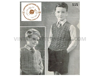 """Boys 40s vintage V neck cable cabled or rib ribbed 4 ply tank top sleeveless sweater vest pdf knitting pattern 25"""" to 27"""" chest Download 515"""