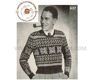 "Mens Mans 30s vintage 3 ply fair isle & snowflake banded raglan Christmas sweater jumper pdf knitting pattern 38"" chest PDF download 637"
