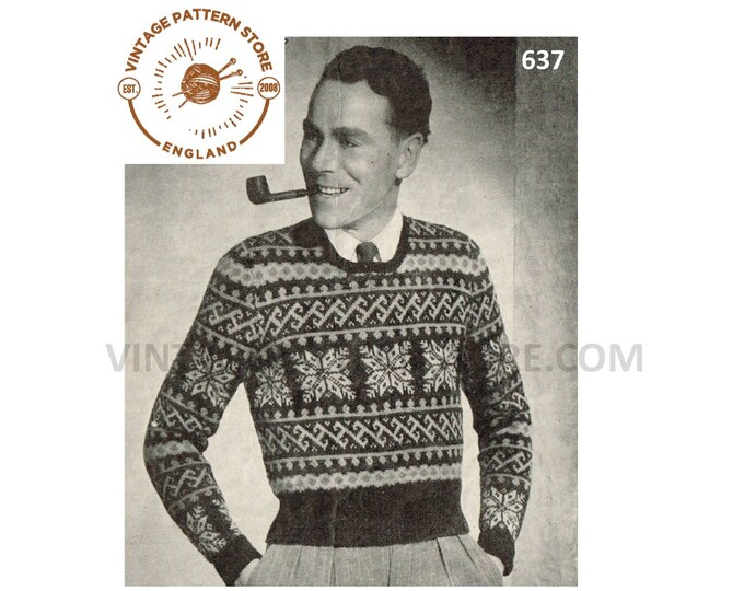 "Mens Mans 30s vintage 3 ply fair isle & snowflake banded raglan Christmas sweater jumper pdf knitting pattern 38"" chest PDF download 637"