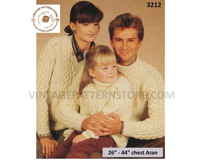 """Ladies Womens Mens Girls Boys 90s crew V or polo neck cable cabled raglan aran sweater jumper pdf knitting pattern 26"""" to 44"""" Download 3212"""