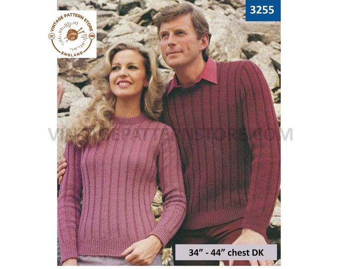 """Ladies Mens 80s sweater knitting pattern, Womens Ladies Mens 80s ribbed rib DK sweater jumper pattern, 34"""" - 44"""" chest - PDF download 3255"""