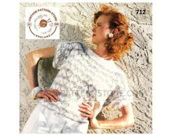 "Ladies, 1990s, slash neck, fan lace, cap sleeve, sweater vest, summer top - 28"" - 42"" chest - Vintage PDF Knitting Pattern 712"