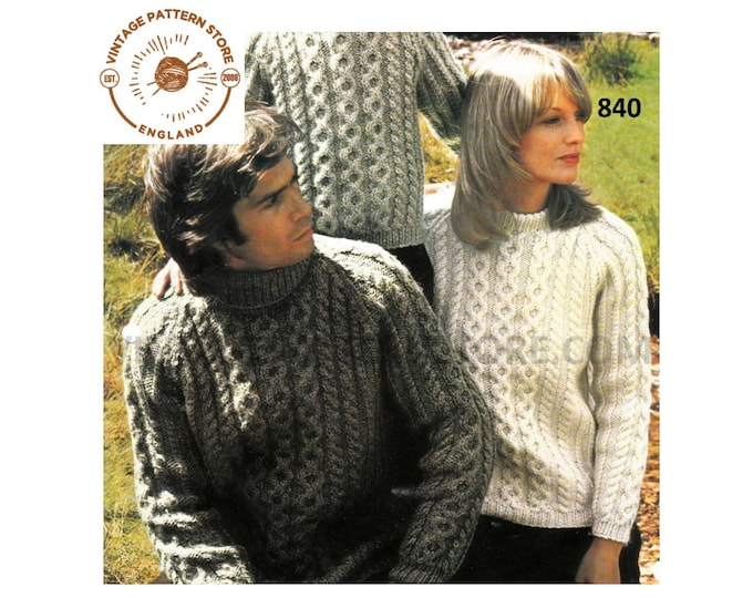 """Ladies Womens Mens Boys Girls 80s Family polo neck chunky knit cabled raglan sweater jumper pdf knitting pattern 26"""" to 42"""" PDF download 840"""