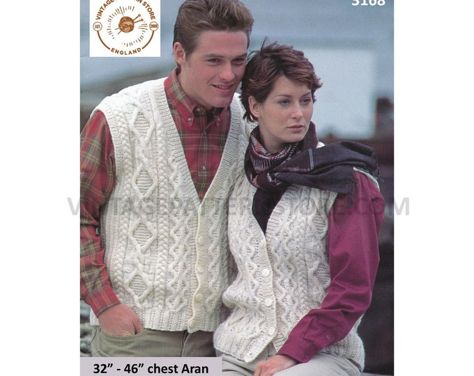 """Womens Ladies Mens 90s V neck cable cabled sleeveless aran cardigan waistcoat pdf knitting pattern 32"""" to 46"""" chest Instant Download 3168"""