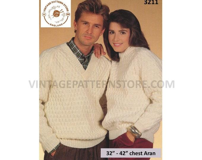 "Ladies Womens Mens 90s V or crew neck texture textured raglan aran sweater jumper pullover pdf knitting pattern 32"" to 42"" Download 3211"