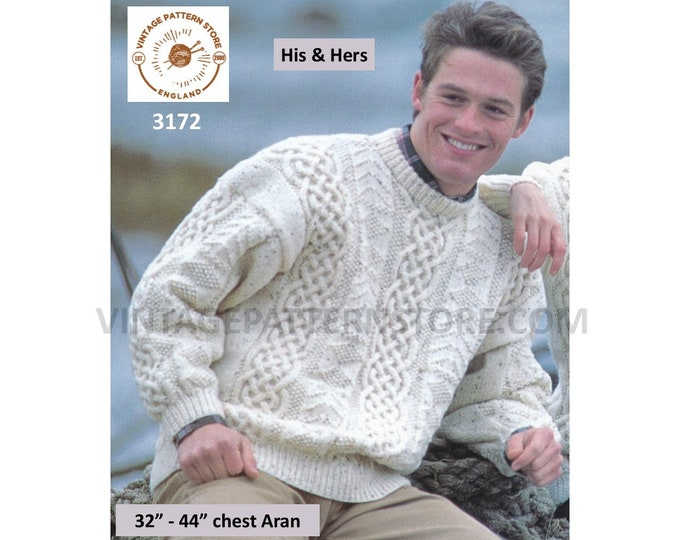 """Ladies Womens Mens 90s crew neck celtic cable panel drop shoulder slouchy aran sweater jumper pdf knitting pattern 32"""" to 44"""" Download 3172"""