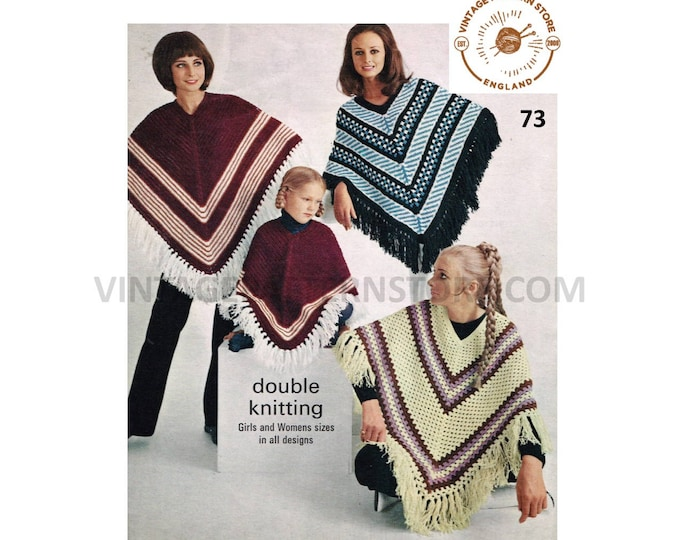 Ladies Womens Girls 70s vintage striped and fringed DK poncho pdf crochet and knitting pattern Instant PDF download 73